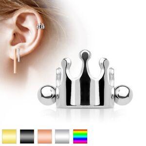 CROWN-SHIELD-Cuffs-Steel-Gold-Barbells-Cartilage-Ear-Helix-RING-PIERCING-JEWELRY