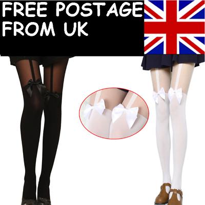 Fashion Vintage Tights Pantyhose Tattoo Mock Bow Suspender Sheer Stockings BHAU