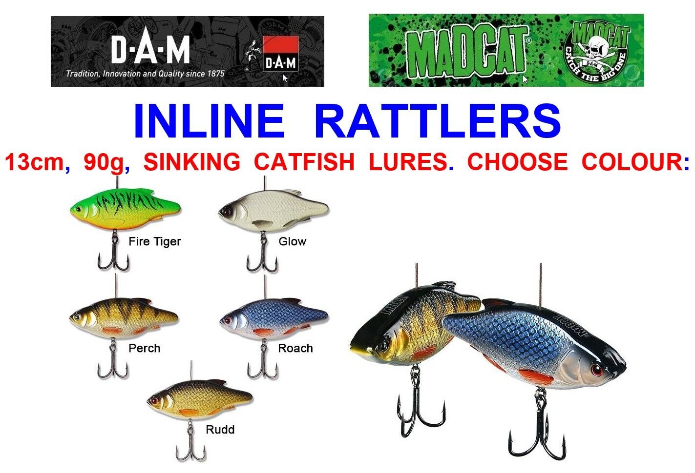 DAM MAD CAT INLINE RATTLERS BOAT COARSE FISHING CATFISH PLUGS SPINNING ROD LURES
