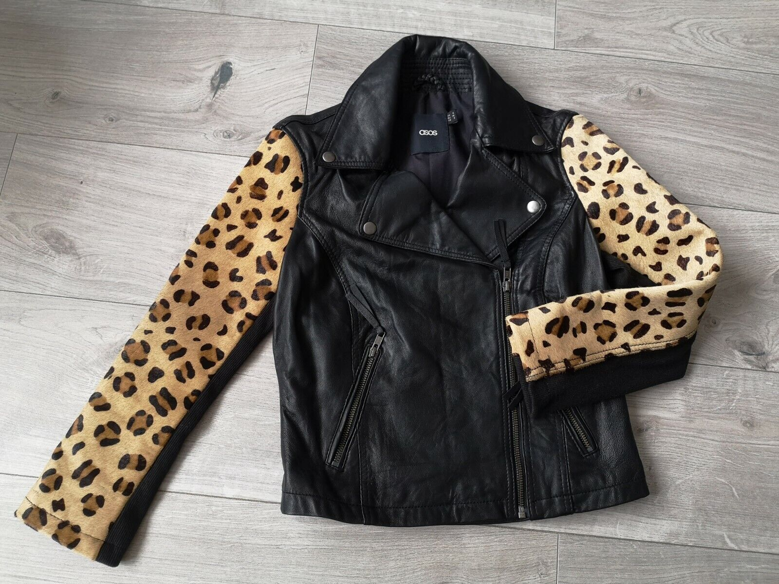 ASOS black Leather Jacket Leopard Print Sleeves size UK 6 Excellent Condition
