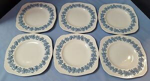 Set of 6 - Wedgwood Queen's Ware Embossed Lavender Cream Square Luncheon Plates
