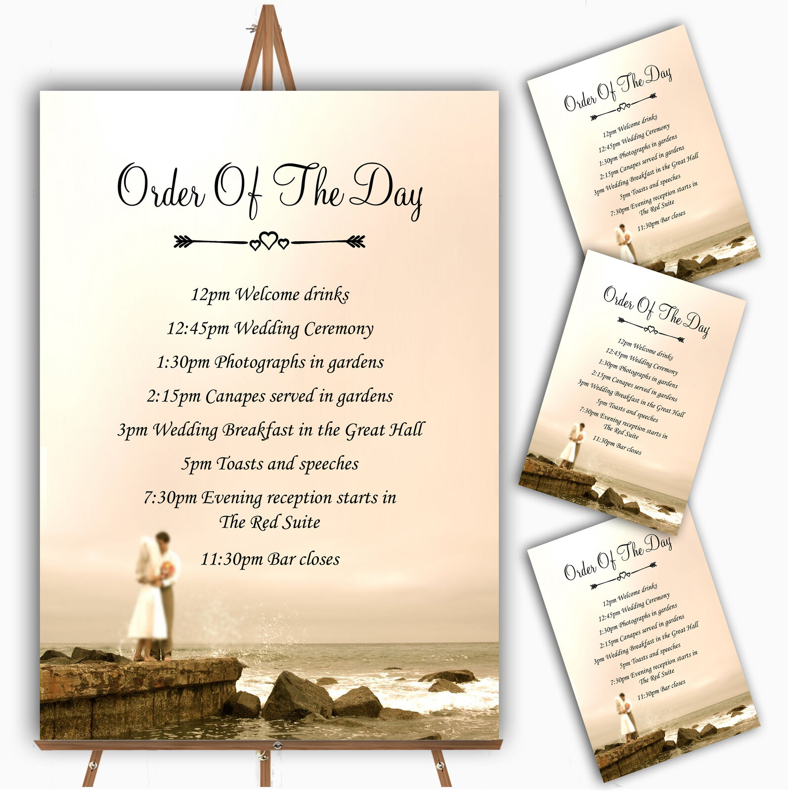 Romantic Couple On The Beach Personalised Wedding Order Of The Day Cards & Signs