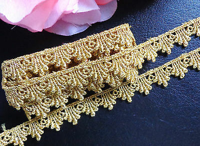 Metallic/gold Venise Lace, 1/2  inch wide selling by the yard