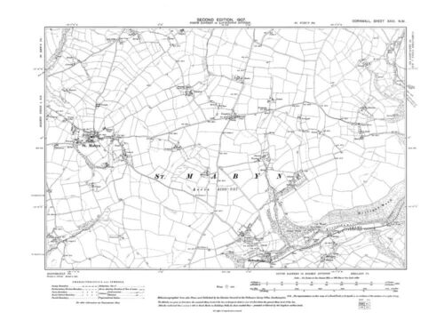 Old map of St Mabyn Cornwall repro Corn-26-NW Hellandbridge 1907