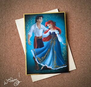 2013-Disney-Designer-Fairytale-Couples-Note-Card-ARIEL-amp-ERIC-Little-Mermaid