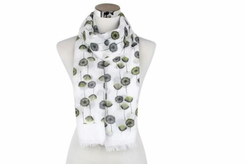 NEW WOMENS SCARF LIME PINK BLUE  DANDELIONS SCARVES SHAWL WRAP LADIES