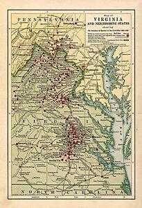 1861-1865 Civil War Battles, MAP, antique, VIRGINIA, 20\
