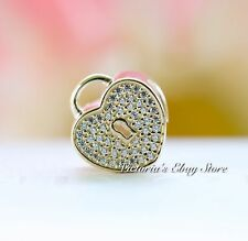 Authentic  PANDORA 14K Gold Heart Lock Charm 750833CZ