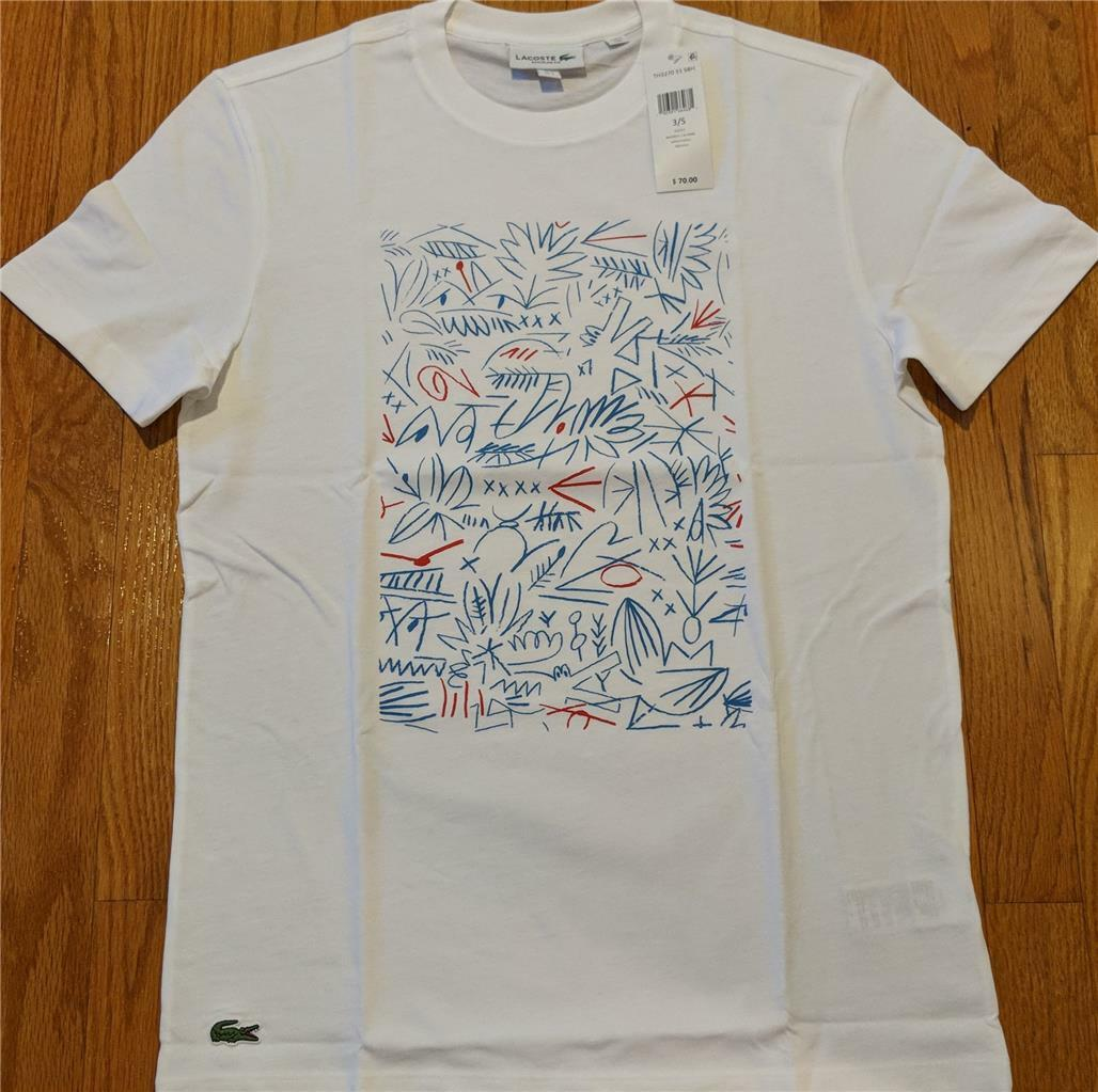 Herren Authentic Lacoste Graphic Animation Printed T-Shirt Weiß 7 (2XL) 70