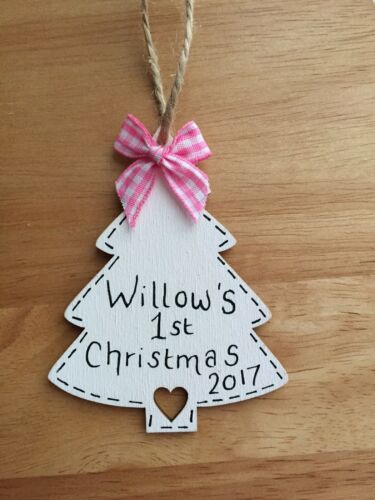 Personalised Baby First 1st Christmas Keepsake Bauble Tree Decoration Boy Girl