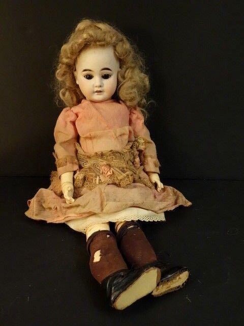 Antique Doll DEP 1894 AM7 With 4 Balls Original Body Long Leg Clothes Wig scarpe