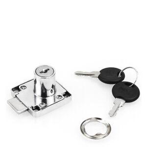 Quality Metal Drawer Lock Kit 2 Keys Cabinet Cupboard