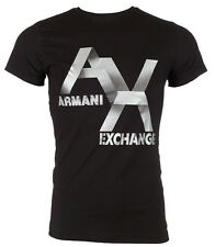 ARMANI EXCHANGE Men T-Shirt AX LOGO Slim Fit BLACK Casual Designer $45 Jeans NWT