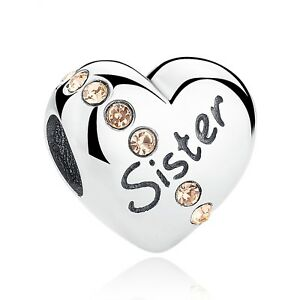 63b65183be13 Details about Sister Charm Love Heart Bead Genuine Sterling Silver 925  Family Best Sister NEW
