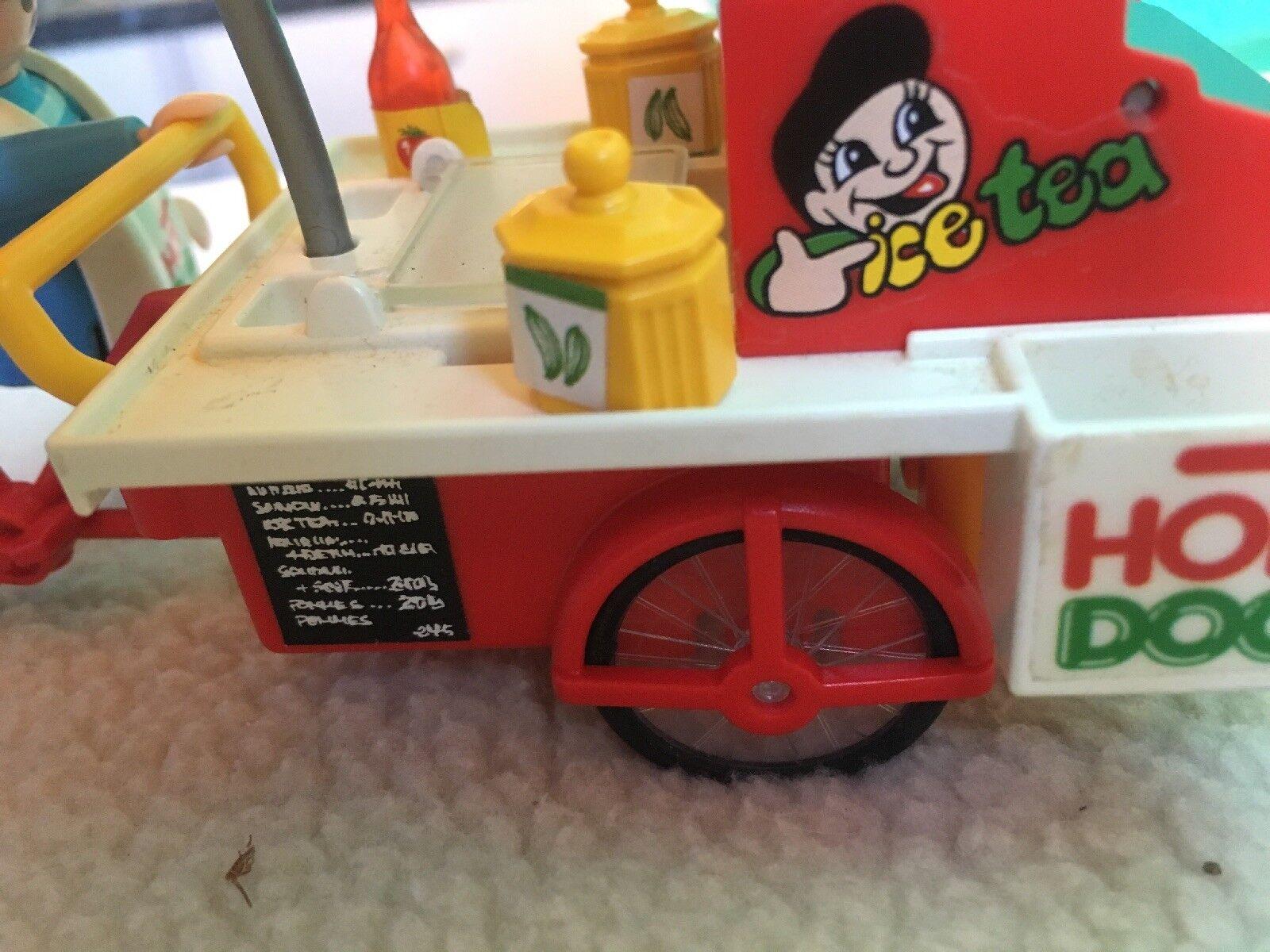 PLAYMOBIL 1996 Hot Dog Stand Cart Vender Vender Vender Seller Vintage Model 3848 + Accessories c939fb