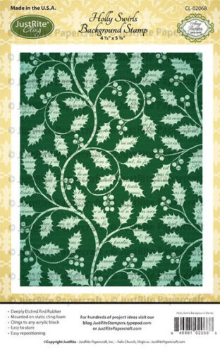 JUSTRITE CLING Rubber Stamps HOLLY SWIRLS BACKGROUND STAMP CL-02068 Amy Tedder