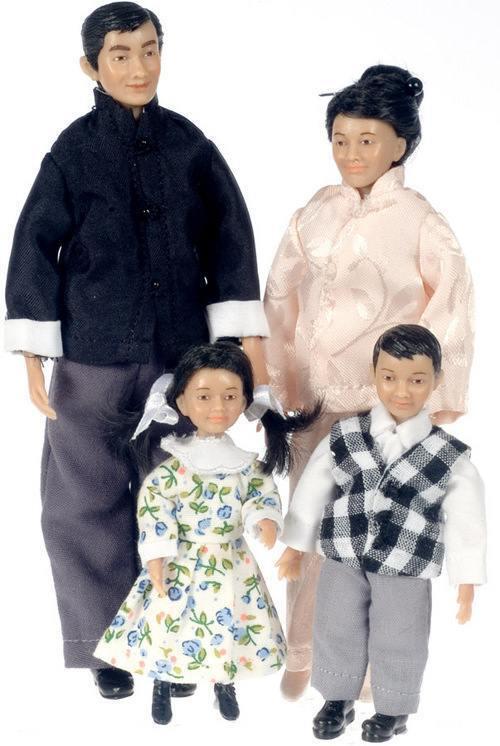 Porzellan-Puppe Set - Asiatische Familie von Drummond SD0056 - 1/12 Maßstab