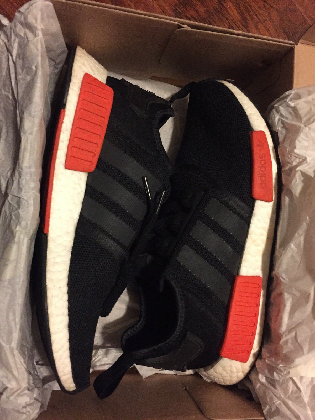 US sz 9 Men's Adidas NMD NMD NMD R1 Black And Red (well Cleaned) 61a41a