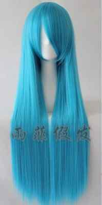 Black White Pink Red Blue Grey Silver Brown 80cm Long Cosplay Wig