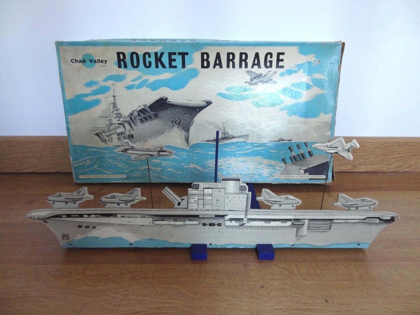 Ancien jouet jeu de tir navire porte avions bateau England chad valley 1950