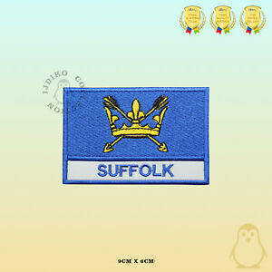 SUFFOLK County Flag With Name Embroidered Iron On Sew On Patch Badge