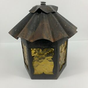 Vintage-Outdoor-Porch-Light-Fixture-Metal-Amber-Glass-Hexagon-Sconce-Mission-MCM