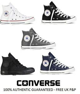 ba151a5d25e2 NEW Converse All Star Ox Hi Top Canvas Trainers White Black Grey UK ...