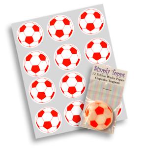 Cupcake Toppers Football Rouge Sport pré-découpé Comestible Gaufre décoration 40 mm x 12