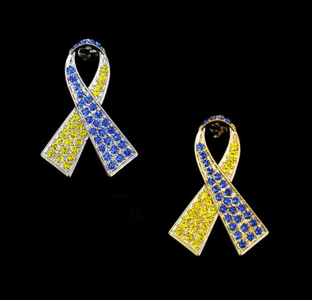 PinMart Rhinestone Down Syndrome Awareness Ribbon Brooch Pin