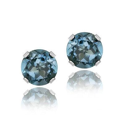 14K White Gold 2.1ct London Blue Topaz Stud Earrings, 6mm