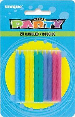 Onesto Candele Per Torta, Colori Neon Confezione Da 20- Meno Caro