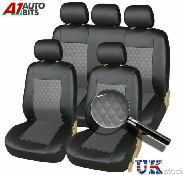 Full Set Luxury BEIGE//BLACK Leather Look Car Seat Covers VW Sharan