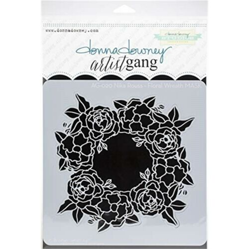 "Donna Downey Artist Gang Stencils 8/""x8/""-floral Wreath"