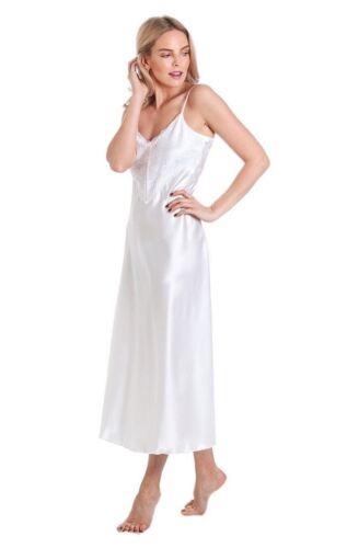 Mesdames satin dentelle longue chemise de nuit dentelle profonde nightie devant détail dentelle S 10 à 28