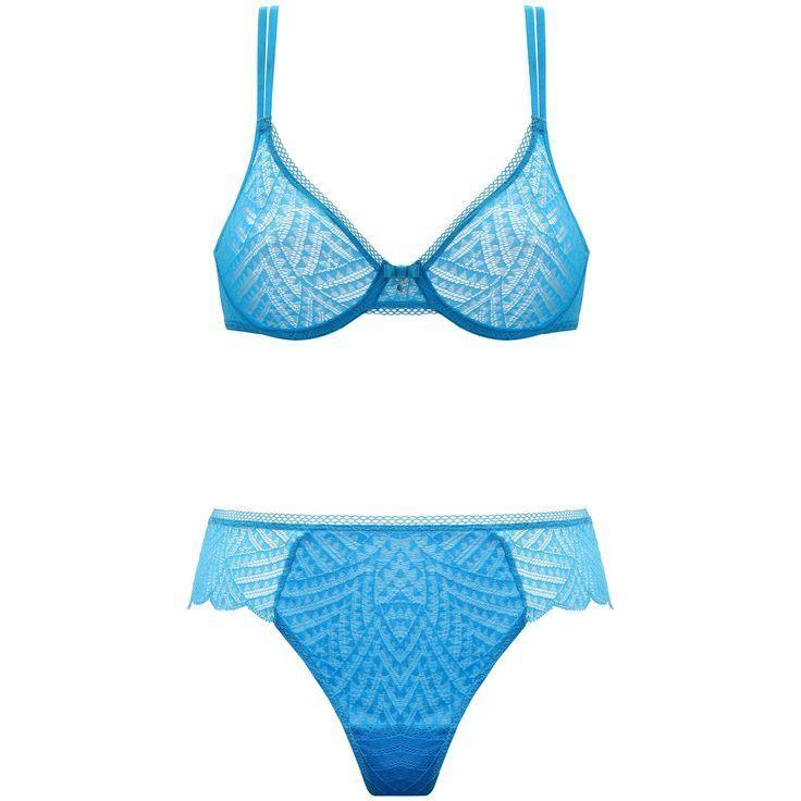 Chantelle Illusion dentelle curacao Blau 2141 moulé UW Soutien-gorge 38 C & 2149 tanga string L