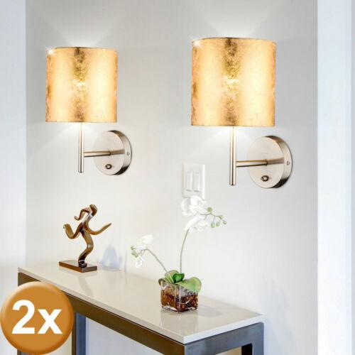 2er Set Design Stoff Wand Lampen Gäste Zimmer Beleuchtungen Lese Leuchten Gold