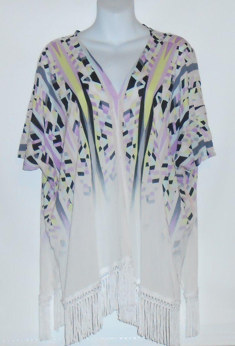 Victoria's Secret 2015 Franges Ourlet Kimono maillot de bain Cover Up Blanc XS S Neuf avec étiquettes