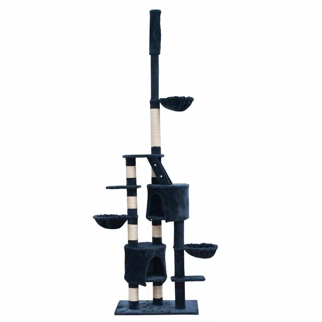 vidaXL Casina albero coccole per gatto tiragraffi XL 230260cm Peluche Blu scuro