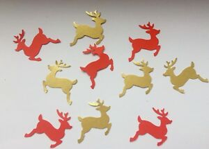 image is loading christmas reindeer table confetti red gold table decorations