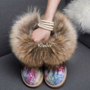 Winter Womens Real Fox Fur Pull On Warm Casual Snow Booties Ankle Boots Shoes Sz