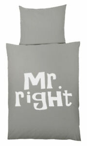 Details Zu Microfaser Bettwäsche Mr Oder Mrs Always Right Garnitur Set 135x200 80x80 Cm