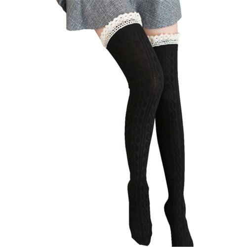 Women Girls Lace Boot Cuffs Warmer Cotton Blend Leg Long Tube Stockings Comfy L