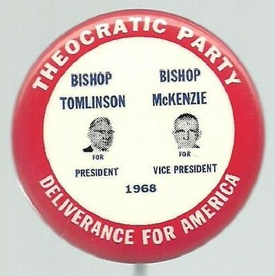 TOMLINSON, McKENZIE THEOCRATIC PARTY JUGATE POLITICAL PIN
