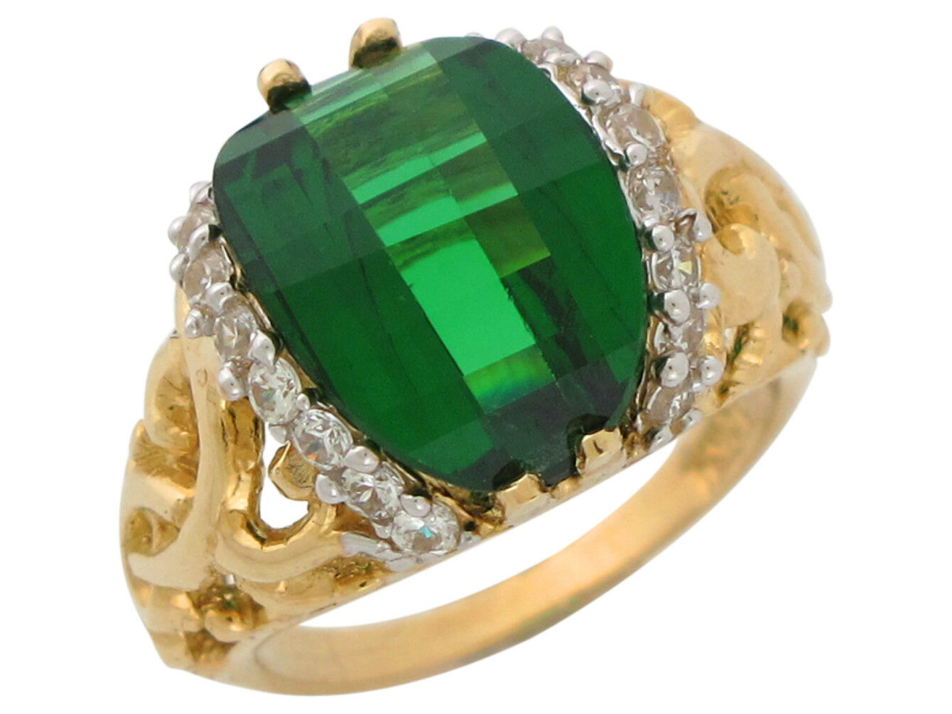 10k or 14k gold Simulated Emerald and White CZ Ladies Vine May Birthstone Ring