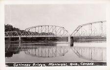 Gatineau River Bridge MANIWAKI l'Outaouais Quebec Canada 1940-50s Real Photo PC