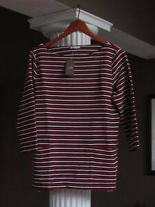 J-JILL-Red-White-amp-Black-Textured-Striped-Boxy-Top-Shirt-Size-M-NWT-69