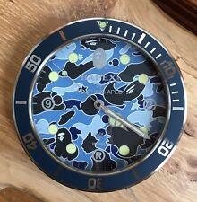 100% authentic Bape Blue Psych Camo Bapex Wall Clock gold #6290