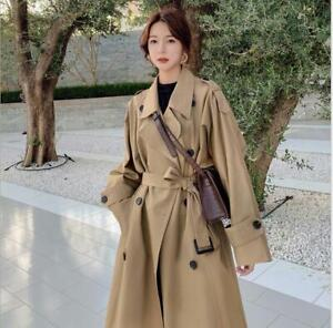 Trench-Coat-Womens-Autumn-Chic-Korean-Thin-Double-breasted-Tooling-Jacket-Slim-f