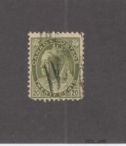 CANADA-MK4522-84-F-USED-20cts-QV-NUMERAL-OLIVE-GRN-1900-CAT-VALUE-80