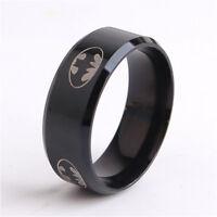 Stainless Steel Batman Ring Superhero Jewelry Classic Logo Emblem Symbol Ss 8mm